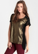 Black and gold foil tee at Threadsence