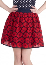 Black and red floral skirt at Modcloth