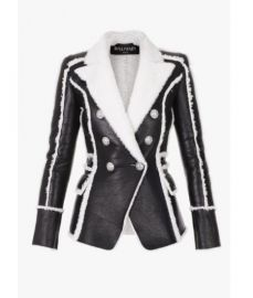 Black and white Shearling Jacket  at Balmain