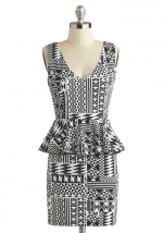 Black and white printed peplum dress at Modcloth