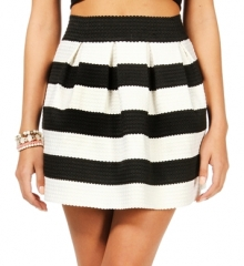 Black and white rubber band striped skirt at Windsor