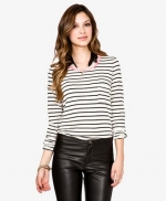 Black and white striped top with pink trim at Forever 21