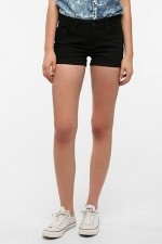 Black denim shorts at Urban Outfitters at Urban Outfitters