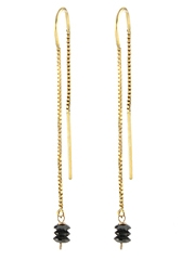 Black diamond threader Earrings by Peggy Li at Bottica