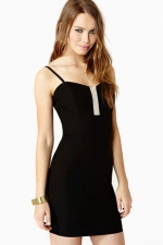 Black dress with bust detail at Nasty Gal