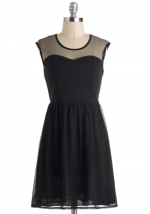 Black dress with sheer top at ModCloth at Modcloth