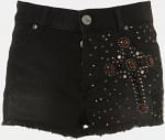 Black embellished denim shorts at Topshop