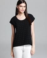 Black embellished top by Aqua at Bloomingdales