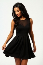 Black fit and flare mesh top dress at Boohoo