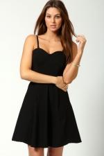 Black flared dress at Boohoo at Boohoo