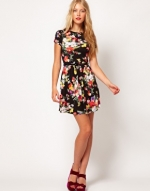 Black floral dress at Asos