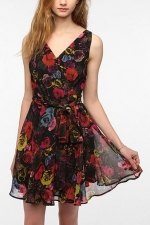 Black floral dress like Bernadettes at Urban Outfitters