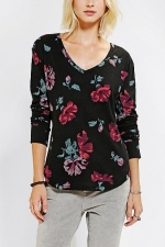 Black floral thermal tee by BDG at Urban Outfitters