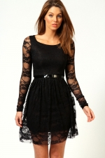 Black lace dress with belt at Boohoo