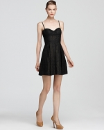 Black lace dress worn by Mona at Bloomingdales
