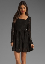Black lace fit and flare dress by Mink Pink at Revolve