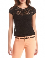 Black lace tee from Charlotte Russe at Charlotte Russe