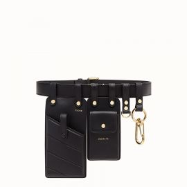 Black leather belt at Fendi