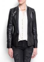Black leather blazer like Robins at Mango