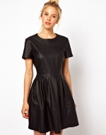Black leather look dress at ASOS at Asos