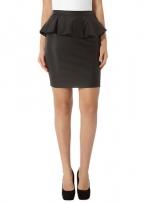 Black leather peplum skirt at Dorothy Perkins
