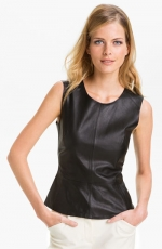Black leather peplum top by Trina Turk at Nordstrom