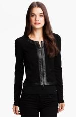 Black leather trim jacket like Rachel Bilsons at Nordstrom