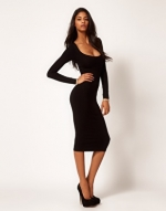 Black longsleeve knee dress like Robins at Asos