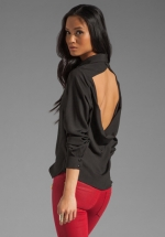 Black open back shirt by Boulee at Revolve