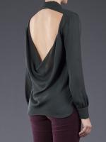 Black open back shirt by Haute Hippie at Farfetch