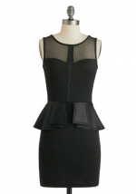 Black peplum dress with sheer panels at Modcloth