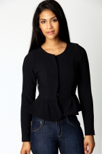 Black peplum jacket from Boohoo at Boohoo