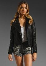 Black vegan leather jacket like Arias at Revolve