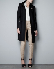 Black zara coat at Zara