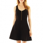 Black zip front dress at JC Penney at JC Penney