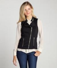 Black zip front vest by Wyatt at Bluefly