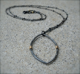 Blackened Silver and Gold Marquise Necklace at Etsy
