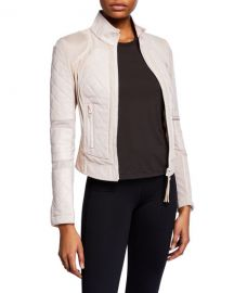 Blanc Noir Quilted Leather  amp  Mesh Moto Jacket at Neiman Marcus