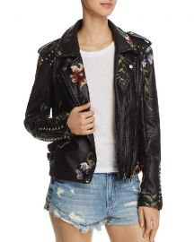 BlankNYC Floral Embroidered Studded Faux Leather Moto Jacket at Bloomingdales