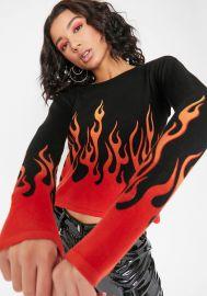 Blaze It Up Flame Sweater by Horoscopez at Dolls Kill at Dolls Kill