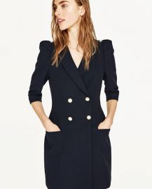 Blazer dress with pearl buttons at Zara