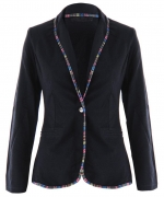 Blazer with patterned trim at Amazon