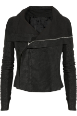 Blister Washed Leather Biker Jacket by Rick Owens at Net A Porter
