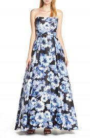 Blondie Nites Floral Print Strapless Satin Evening Dress   Nordstrom at Nordstrom