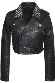 Bloodya cropped studded leather biker jacket x at The Outnet