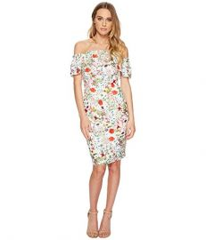 Bloom Printed Off Shoulder Dress by Adrianna Papell at Zappos
