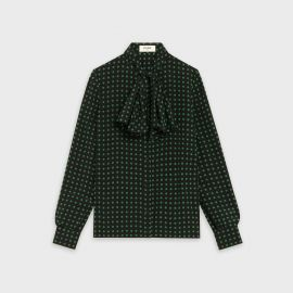 Blouse with Jabot in Crepe de Chine by Celine at Celine
