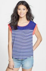 Blu Pepper Stripe Mesh Panel HighLow Tee at Nordstrom