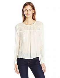 Blu Pepper Women s Long Sleeve Crochet and Lace Detailed Top at Amazon