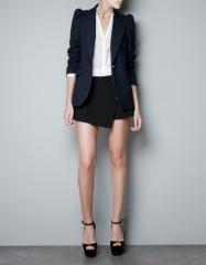 Blue Blazer with Shoulder Detailing at Zara